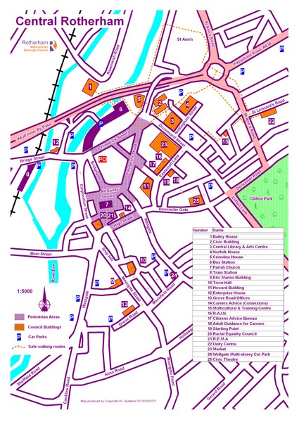 Central Rotherham Map