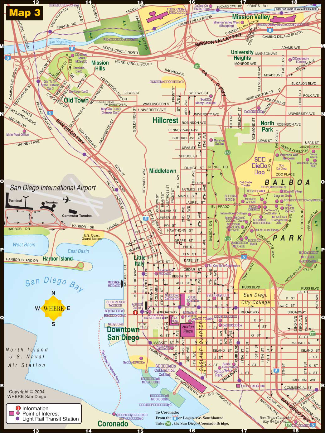 Central San Diego Tourist Map - San Diego • mappery
