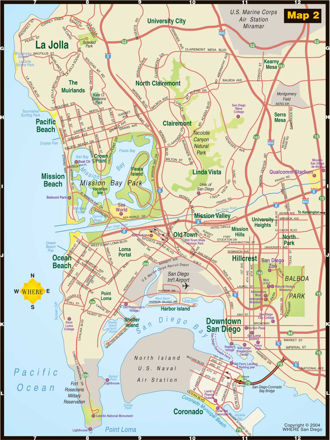 Central San Diego Tourist Map San Diego mappery – Tourist Map San Diego