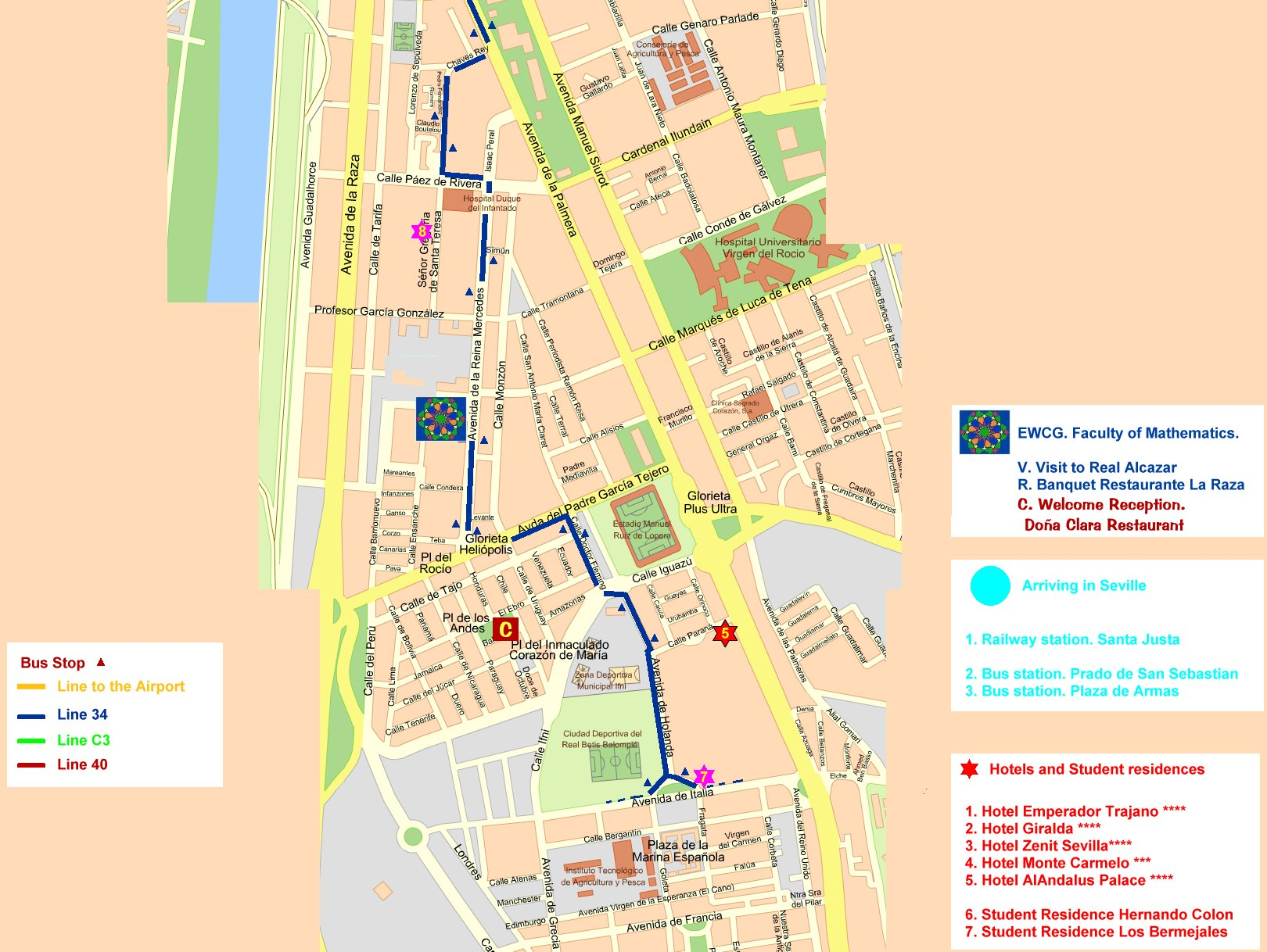 Central Seville Tourist Map Seville mappery