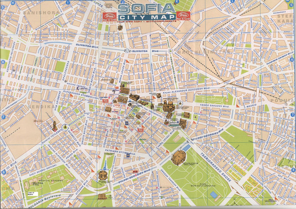 Central Sofia Tourist Map