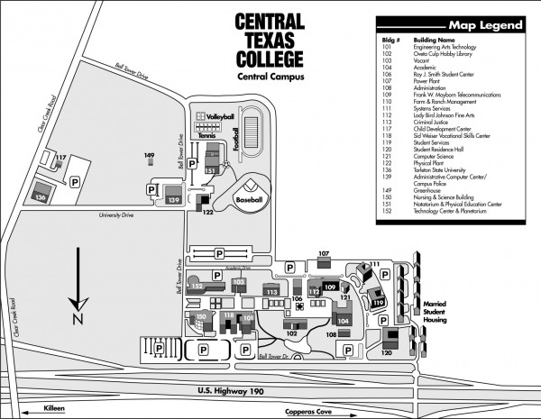 Central Texas College Campus Map