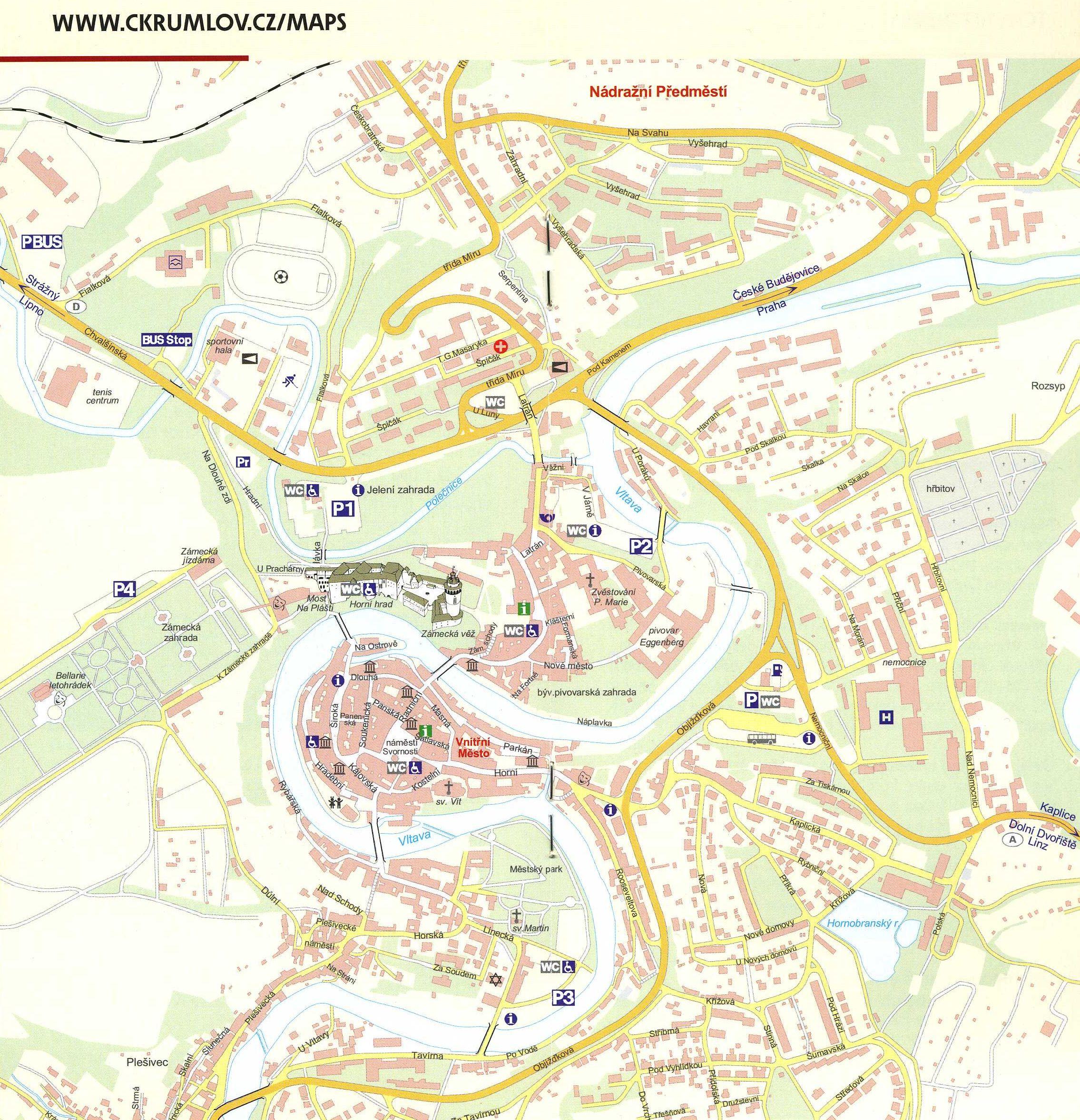 Cesky Krumlov Czech Republic Tourist Map Cesky Krumlov Czech