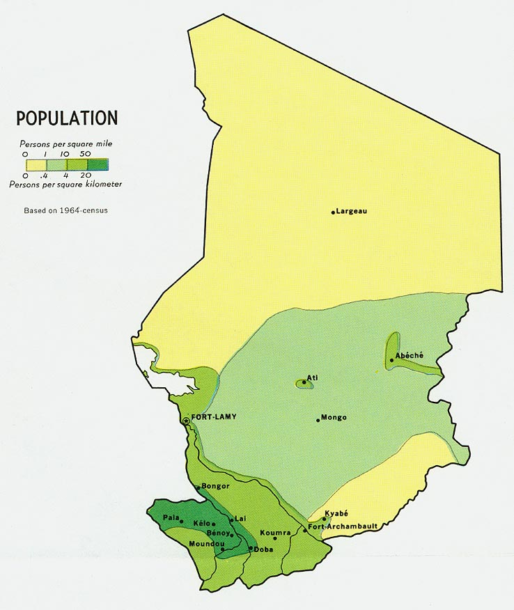 Chad Population Map 1964 Chad Africa mappery