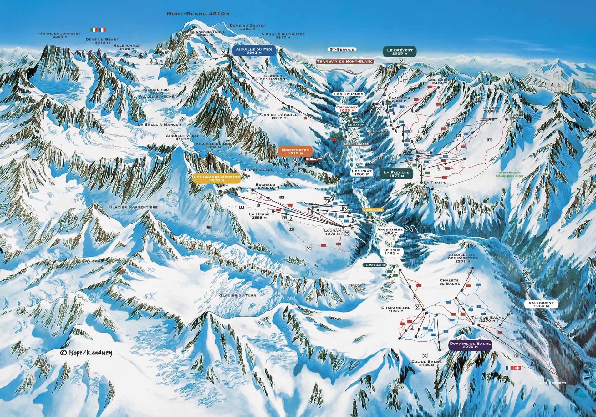 Chamonix Piste Ski Area Trail Map MontBlanc Chamonix France mappery