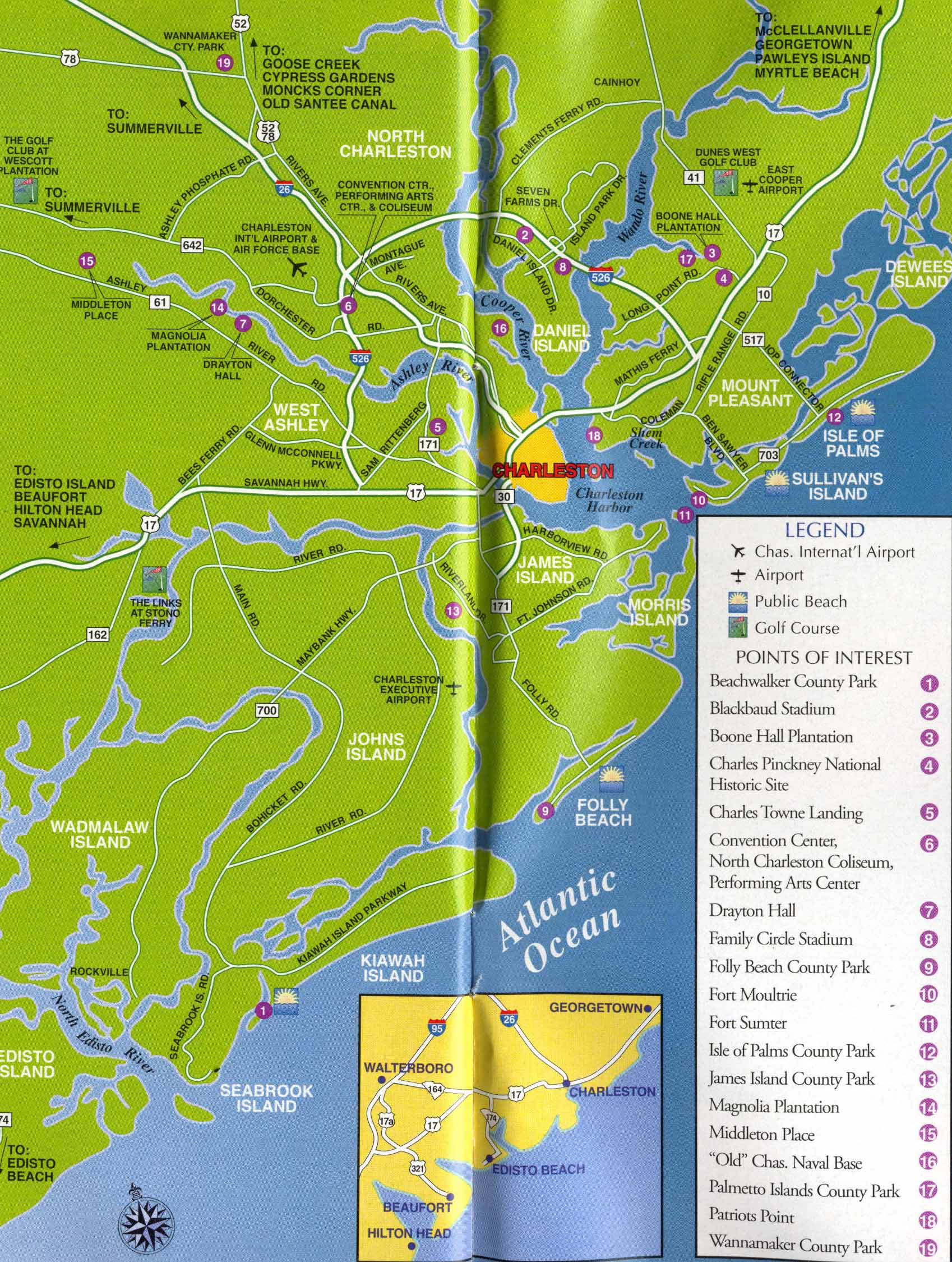 Maps update 10331277 tourist map of charleston sc map for How do i get to charleston south carolina