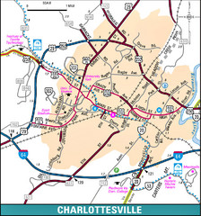 Charlottesville, Virginia City Map