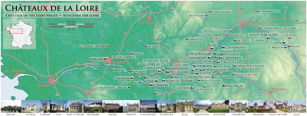 Chateaux of the Loire River Valley Map