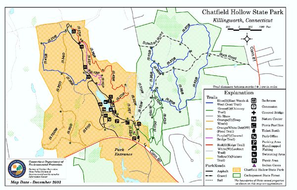 Chatfield Hollow State Park map
