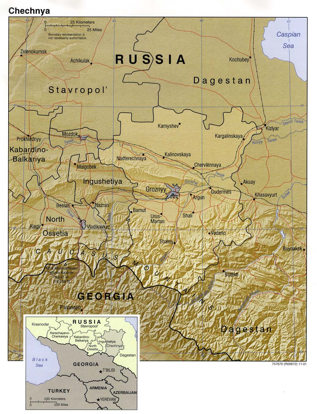 Chechnya country map see map details from www lib utexas edu