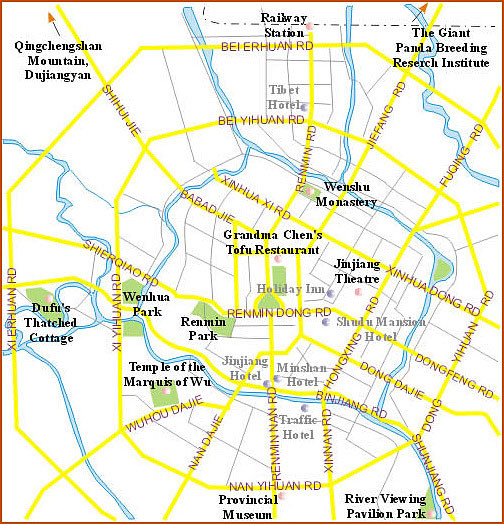 Chengdu City Tourist Map