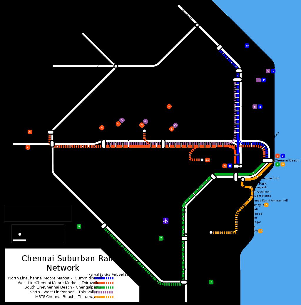 Chennai Suburban Rail Map - Chennai India • mappery