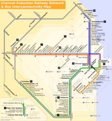 Chennai Suburban Rail and Bus Map