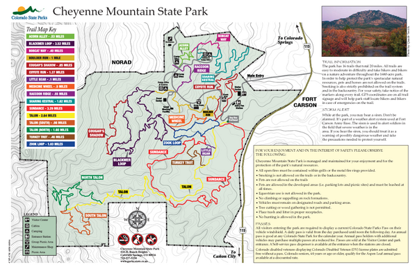 Cheyenne Mountain State Park Map Cheyenne Mountain Colorado - State of colorado map