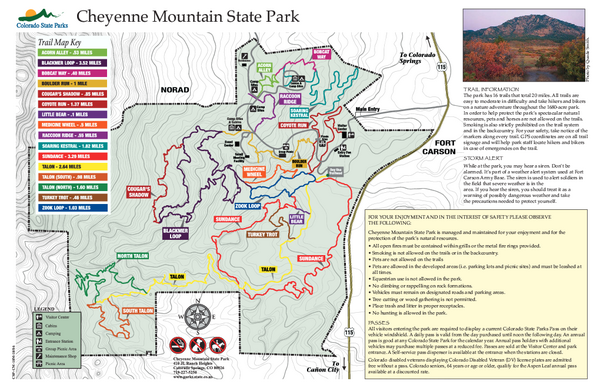 Cheyenne Mountain State Park Trail Map  Colorado Springs