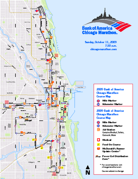 Map Of America Showing Chicago.Chicago 2009 Marathon Map Chicago Il Us Mappery