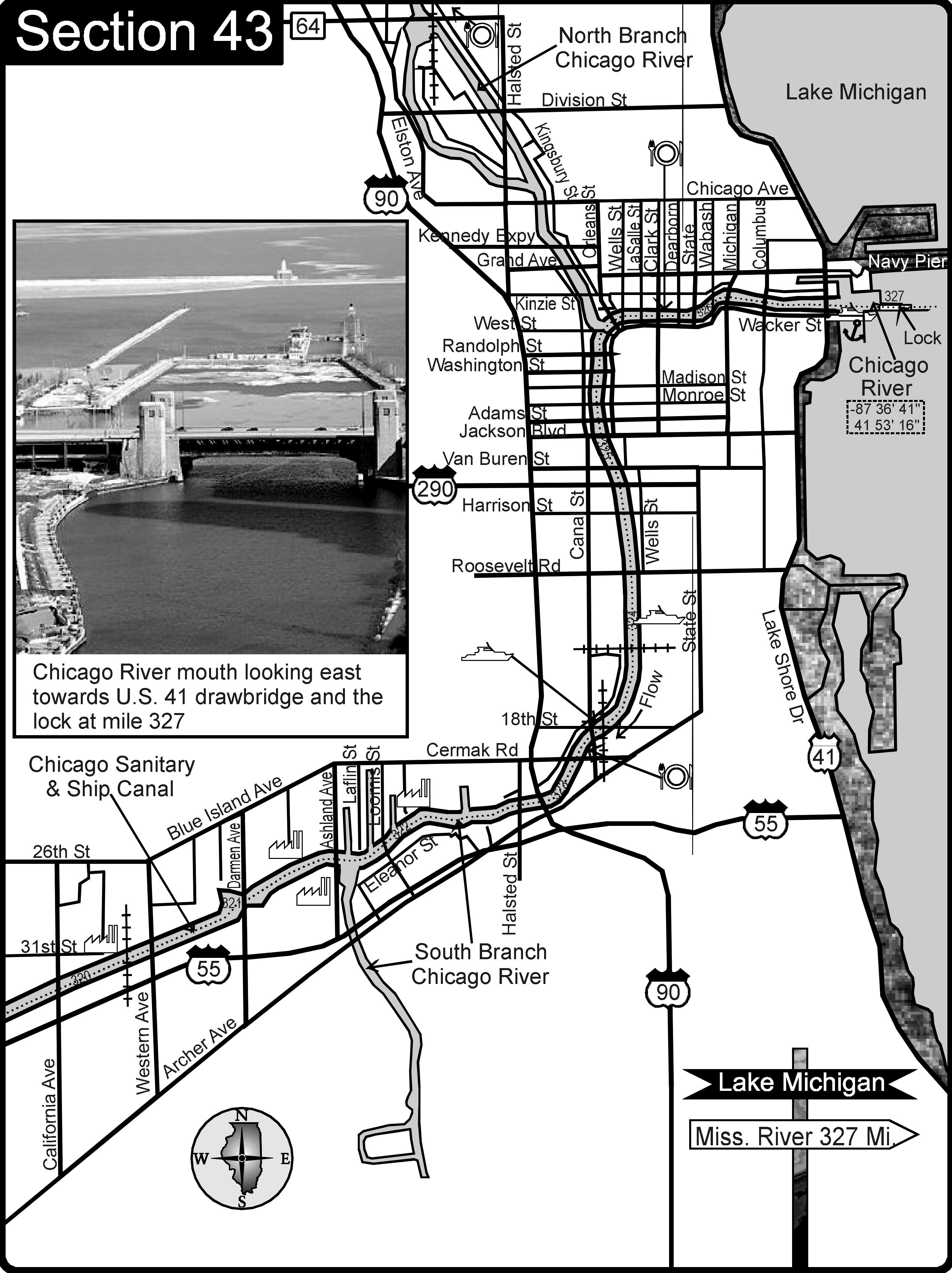 Chicago IL Sanitary and Ship Canal-Chicago River Map - chicago il ...