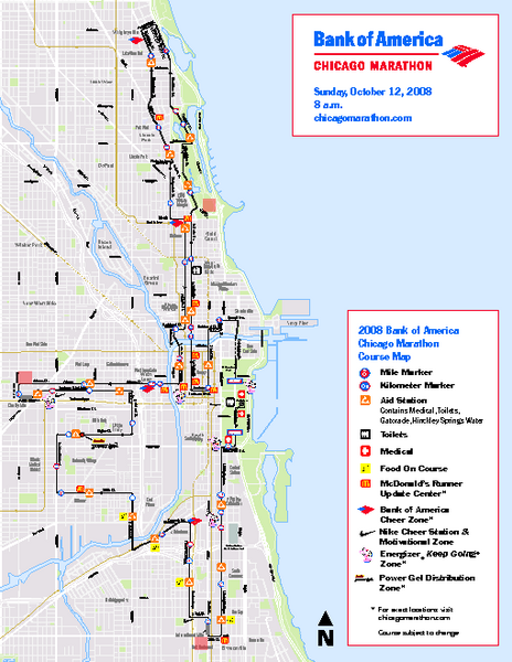 Chicago Marathon Course Map 2008  Chicago Illinois  Mappery