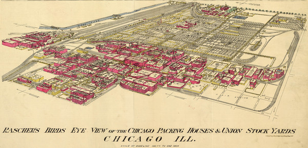 Chicago Meatpacking District and Stockyards (1890) Map