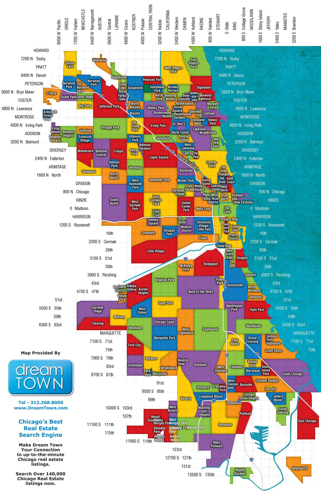 Chicago Neighborhoods Map  Chicago IL  Mappery