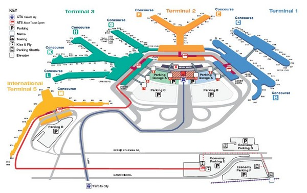 Airport Map Chicago O Hare Chicago Ohare Airport Map   Chicago O039hare Airport • mappery