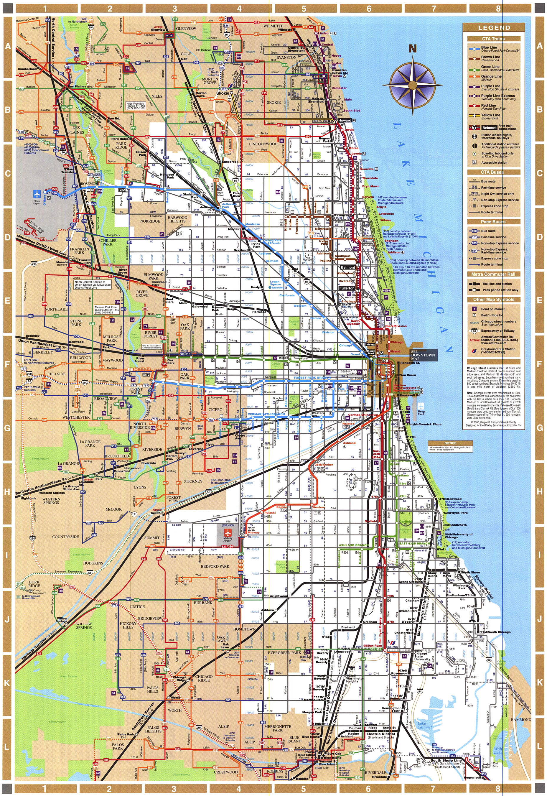 chicago train map  chicago illinois • mappery -