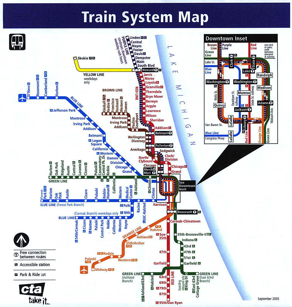 chicago train system map  chicago • mappery -