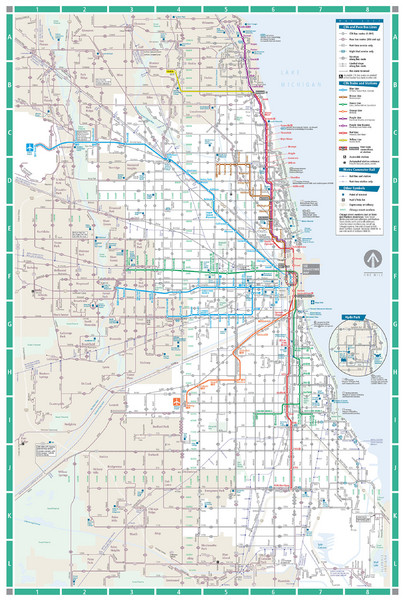 Chicago Transit Map Chicago IL mappery