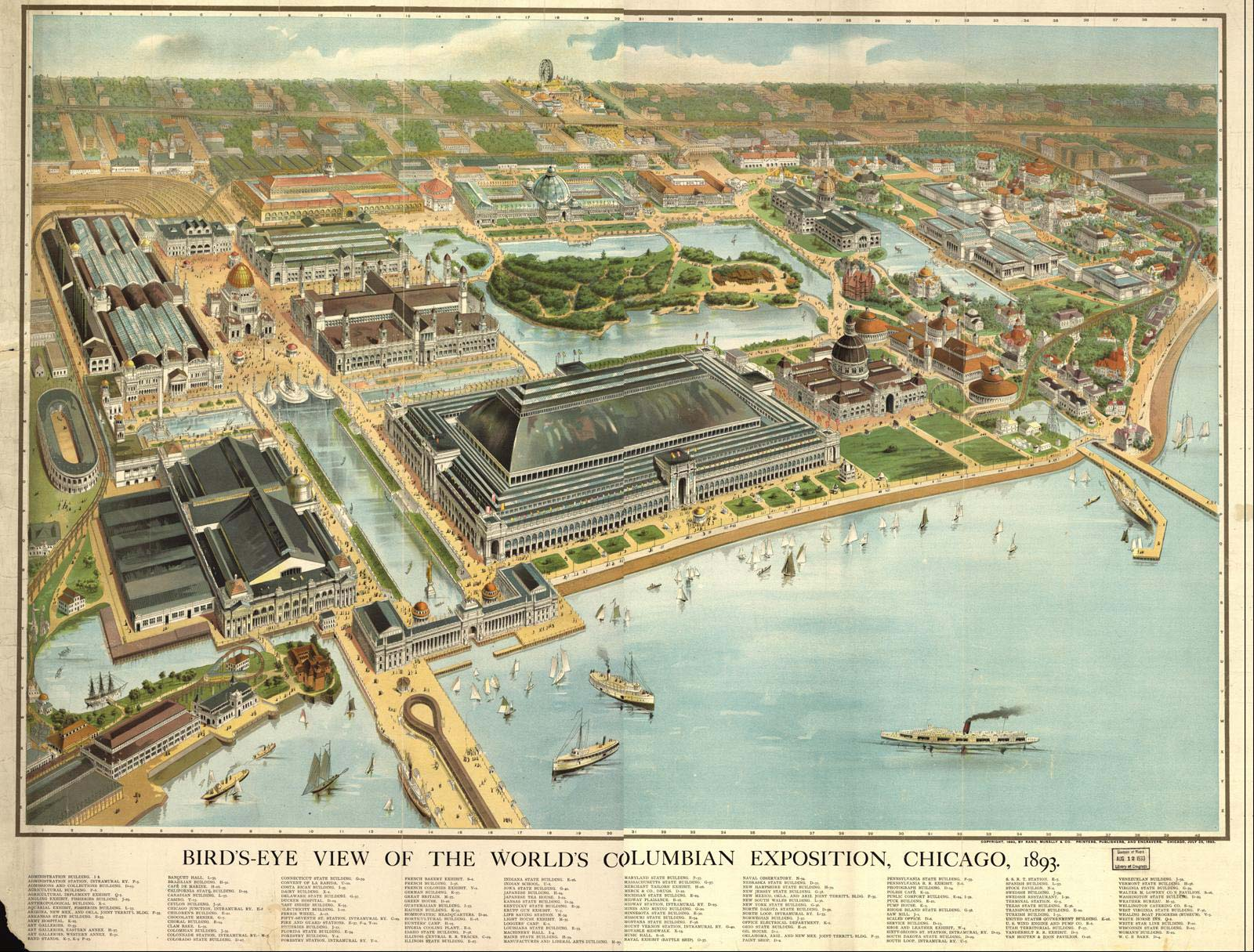 Chicago Worlds Columbian Exposition 1893 Birds Eye View Map ...