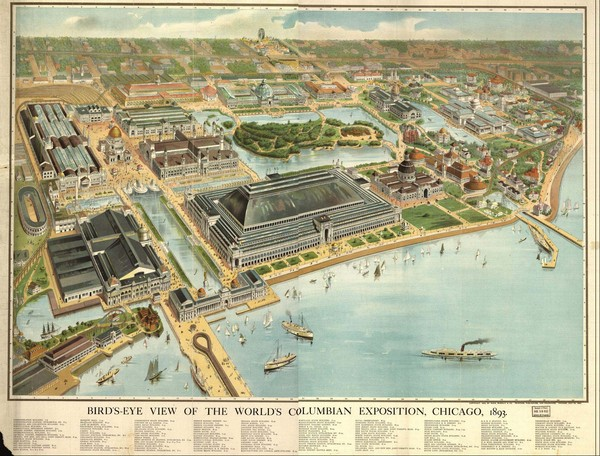 Chicago World's Columbian Exposition 1893 Bird's Eye View Map