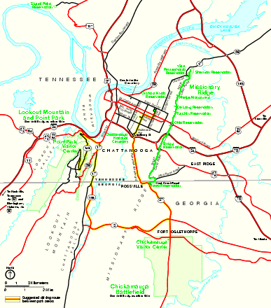 Chickamauga & Chattanooga National Military Park Official Map