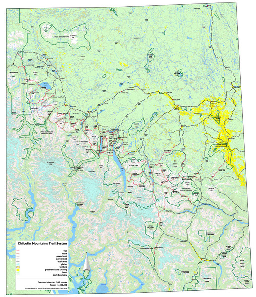 Chilcotin Mountains Trail System Map