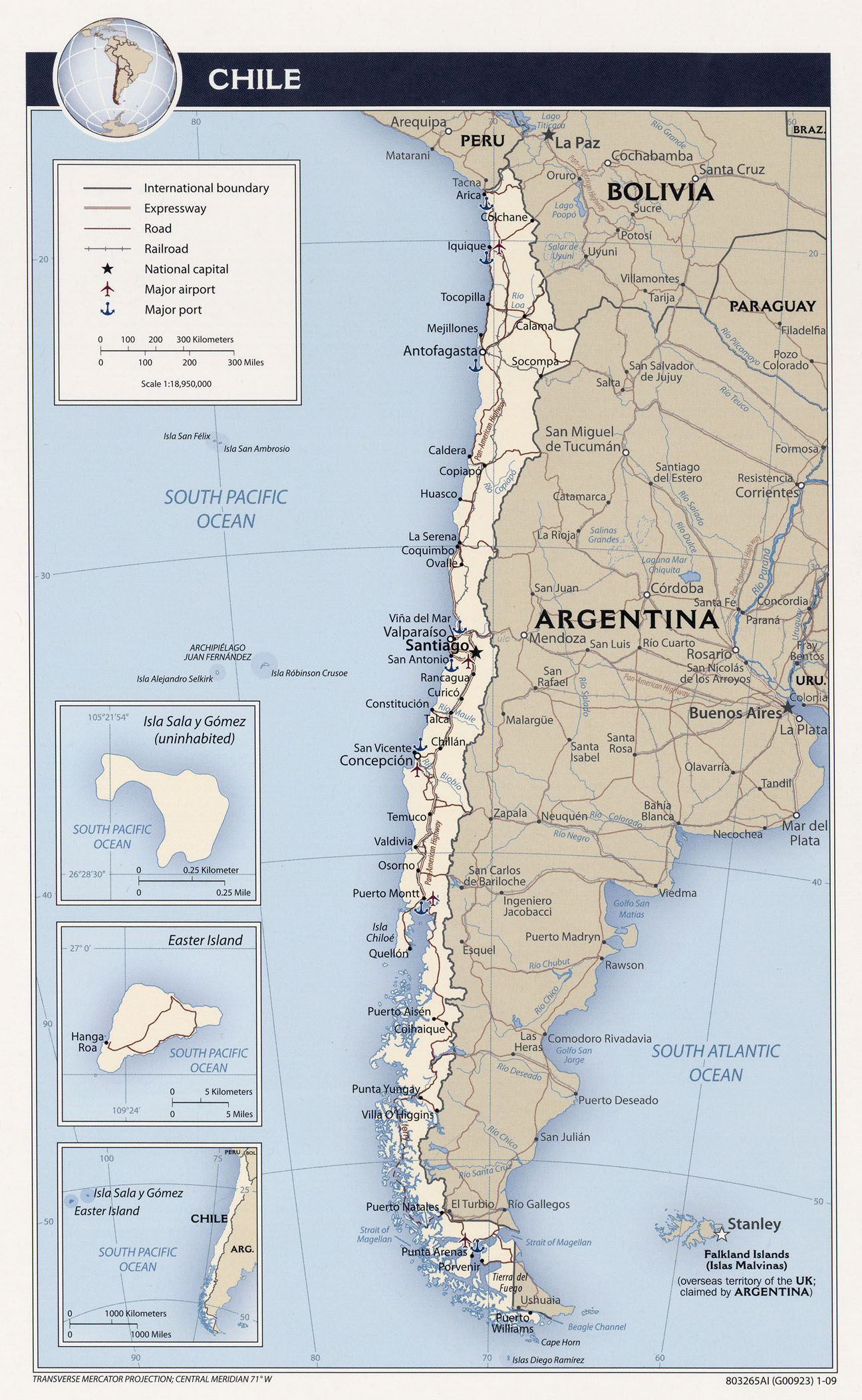 chile tourist map  chile • mappery -