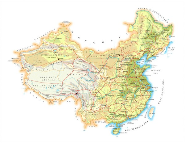 China Physical Relief Map