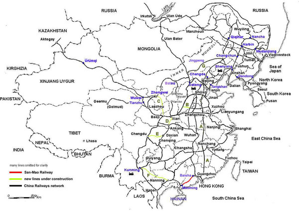 China Railway Map China mappery
