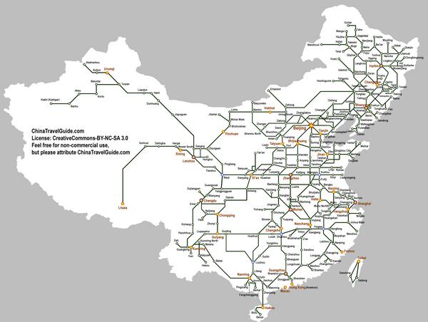 China Railway Map - China • mappery