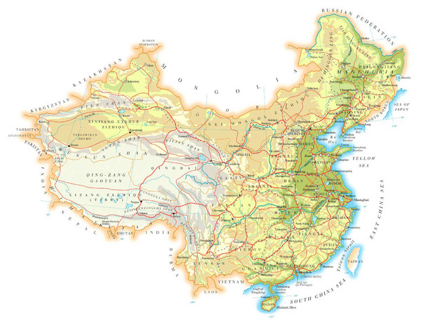 China Topographic Map   China • mappery