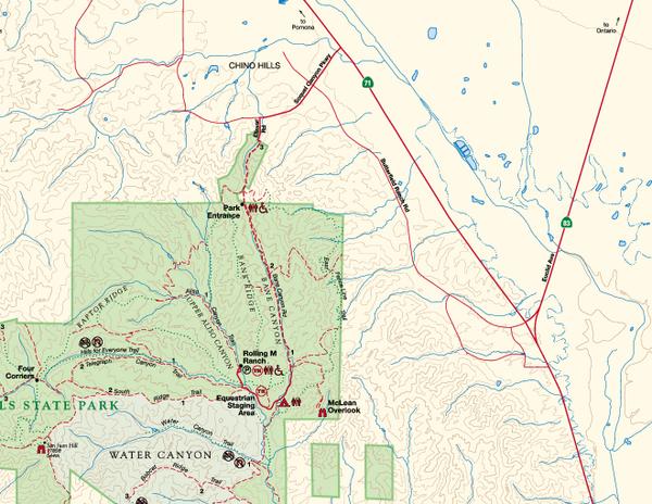 Chino Hills State Park NE Map Chino Hills State Park Riverside CA