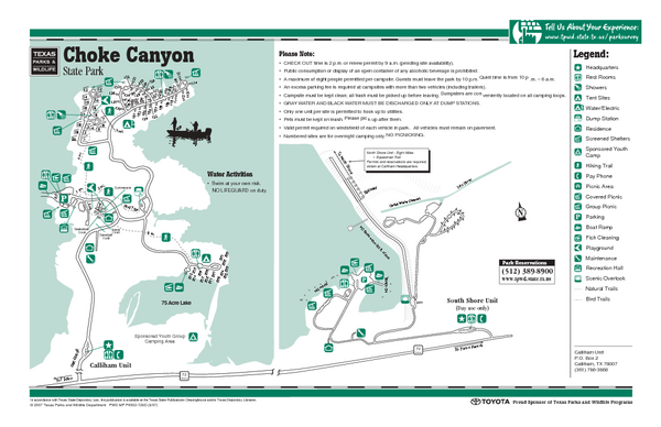 Choke Canyon, Texas State Park Facility Map