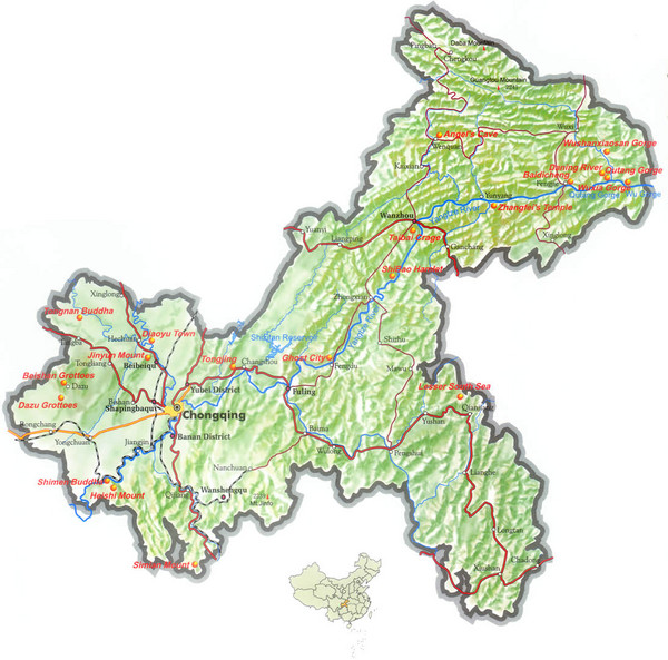 Chongqing Province China Relief Map