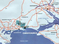 Christchurch, England Region Map