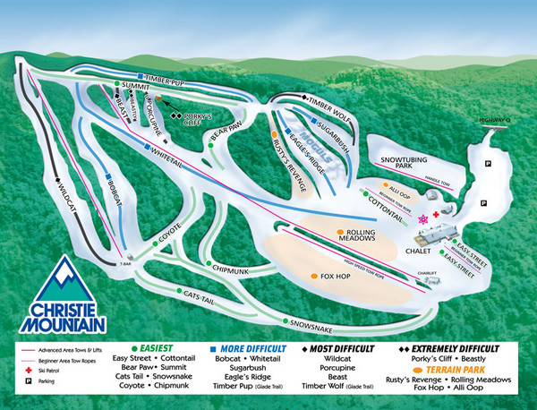 Christie Mountain Ski Area Ski Trail Map