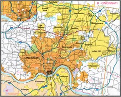Cincinnati, Ohio City Map