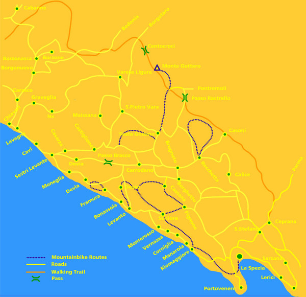 Italy Map Cinque Terre.Cinque Terre Mountain Biking Trail Map Cinque Terre Italy Mappery