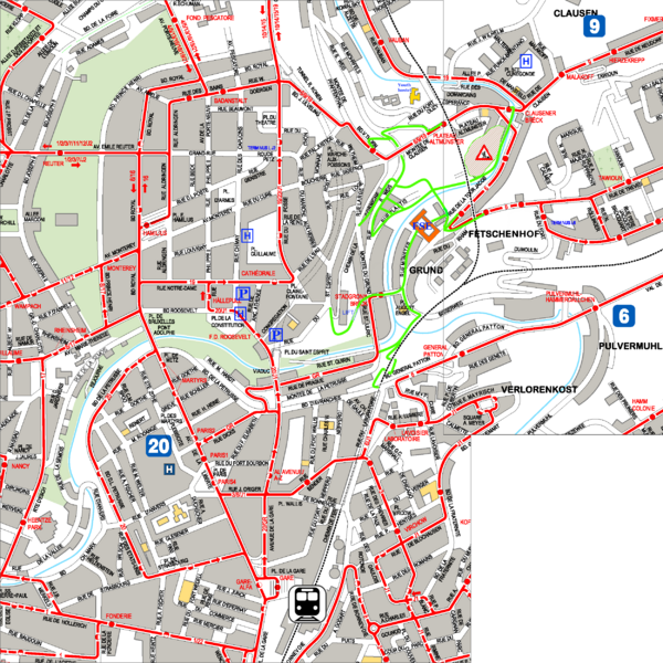 City Center with Bus and Rail Lines Map Luxembourg City Luxembourg