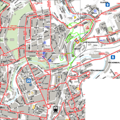 City Center with Bus and Rail Lines Map
