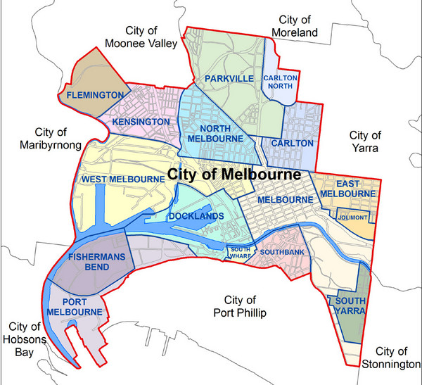 Australia Map Melbourne.City Of Melbourne Australia Boundary Map Melbourne Australia Mappery
