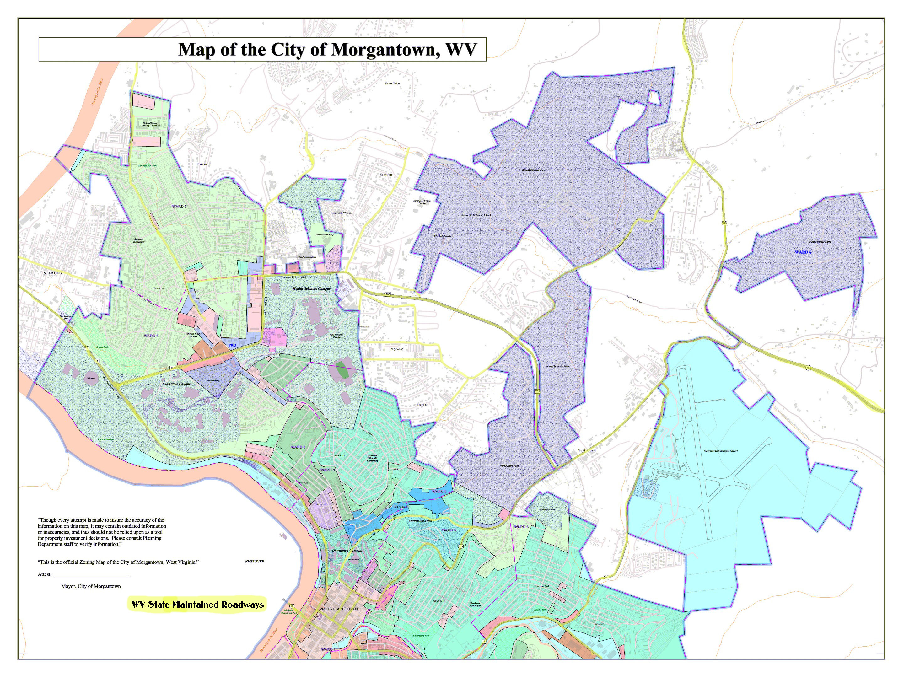 City of Morgantown West Virginia Zoning Map Morgantown West