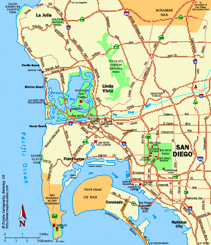 City of San Diego California Map - San Diego CA • mappery