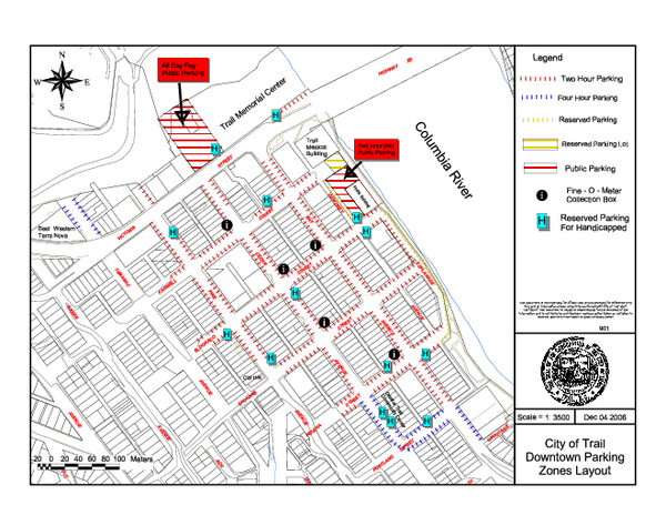 City of Trail Downtown Parking Map